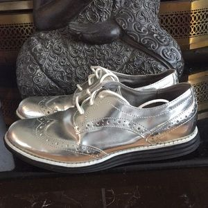 Cole Haan Wingtip Metallic Oxford Loafers 5B WMNS